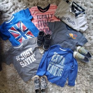 Bundle - boys shoes and tshirts.